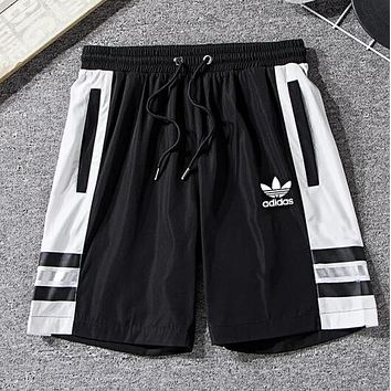 ADIDAS Summer Popular Women Men Breathable Clover Sport Running Shorts Black