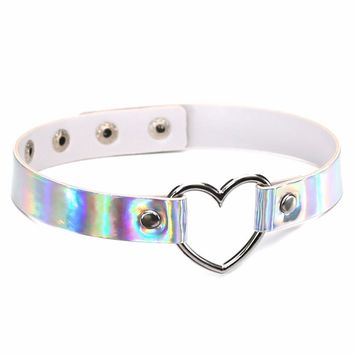 PU Leather choker necklace gift for women Holographic Choker Heart Metal Laser Collar Chocker fashion jewelry