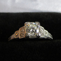 Art Deco Diamond Engagement Ring VVS1 Center Stone - Solid 18k White Gold - GORGEOUS! GIA Appraisal Included 2,420 usd