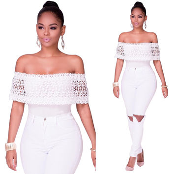 Crochet Off-Shoulder White Top and White Ripped Jeans
