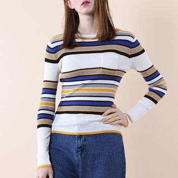 Cheerful Stripes Knitted Top in White