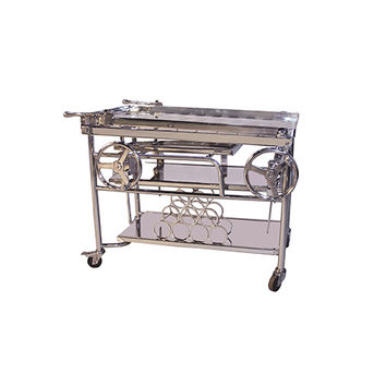 Yosemite Home Decor YFUR-AMYOBAR21 Shiny Stainless Steel Outdoor Adjustable Bar Cart