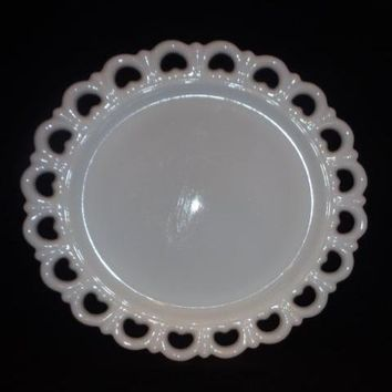 Anchor Hocking Milk Glass Lace Edge, Hearts Platter