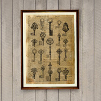 Steampunk poster Skeleton keys decor Vintage illustration Dictionary print