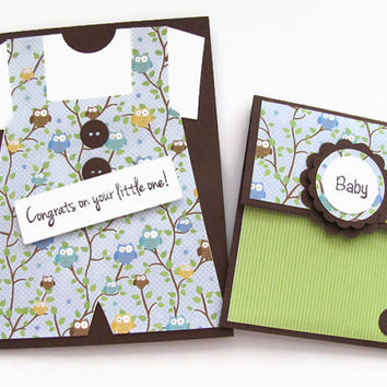 Owl Print Overalls, Congrats on Your little One Card, New Baby Boy Card, Card and Gift Card Set, Baby Shower Gift