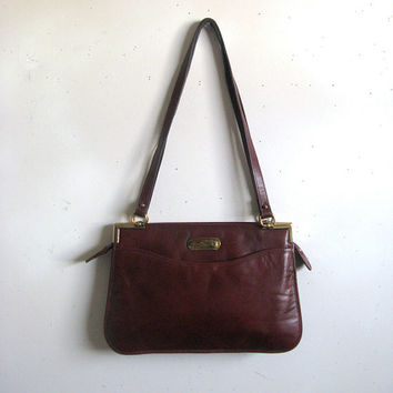 Vintage 1970s Etienne Aigner Handbag Burgundy Leather Portfolio Shoulder Strap Bag Cuir Sacs a Main
