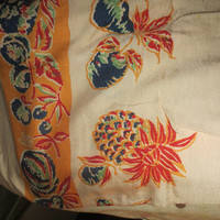 antique colorful pineapples and fruit linen /  silk    large tablecloth/bedspread  83 x 55
