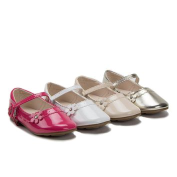 Girls Scalloped Patent Leather Mary Jane Flat Shoes