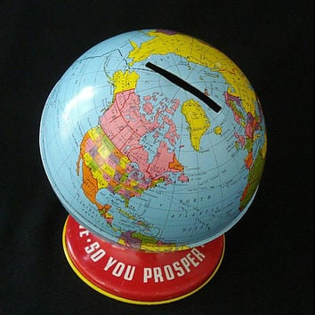 Ohio Art Tin Litho Globe Bank - Vintage Savings Piggy Bank - World Map - Office Playroom Home Decor