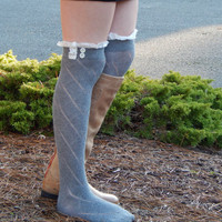 Diamond knit Knee High Button Boot Socks with Lace