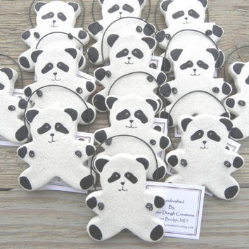 Panda Bear Set of 12 Salt Dough Ornaments / Party Favor Ornaments / Baby Shower