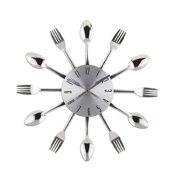New 2015 Watch Wall Clock Modern Design Silver Kitchen Cutlery Digital Wall Clocks Spoon Fork Home Decor Art Room Decorative