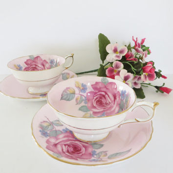 Paragon vintage 1930's pink rose patterned  tea cup and saucer