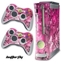 XBOX 360 Console Skulls Butterflys Design Decal Skin - System & Remote Controllers - Pink Butterfly