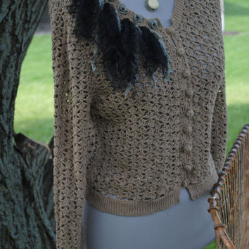 Taupe Crocheted Sweater Black Crushed Toulle and Seafoam Ribbon Roses