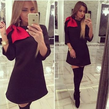 Black And Red Bow Sleeve Dress