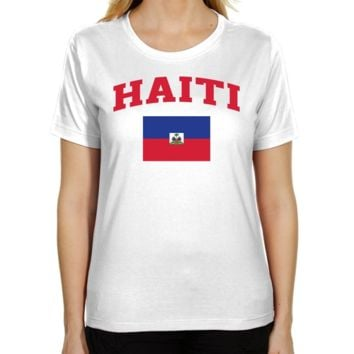 Haiti Ladies Flag Classic Fit T-Shirt - White