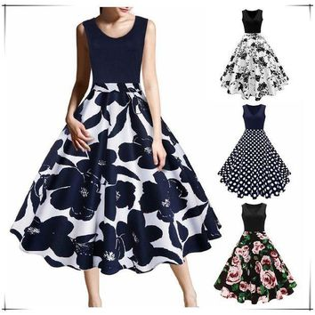 MDIGDP2 New Arrival Women Fashion Cocktail Party Prom Dress Sleeveless Floral Print Dress