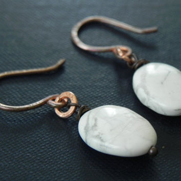 White Stone Earrings // Rustic Forged Copper Earrings // Bohemian Tribal Jewelry