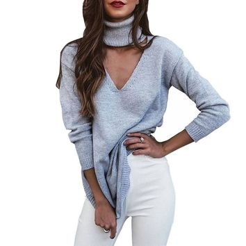 Winter casual solid women long sleeve folded choker v neck halter cut out knitted sweaters pullovers ladies slim jumper Femme