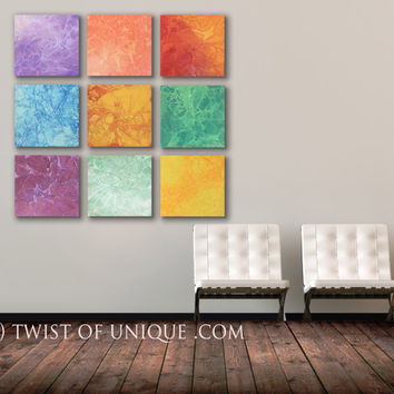 Large Watercolor Wall Art, - 9 square ORIGINAL Abstract Painting ,Big colorful Paintings - green, orange, red, yellow, purple, blue, violet