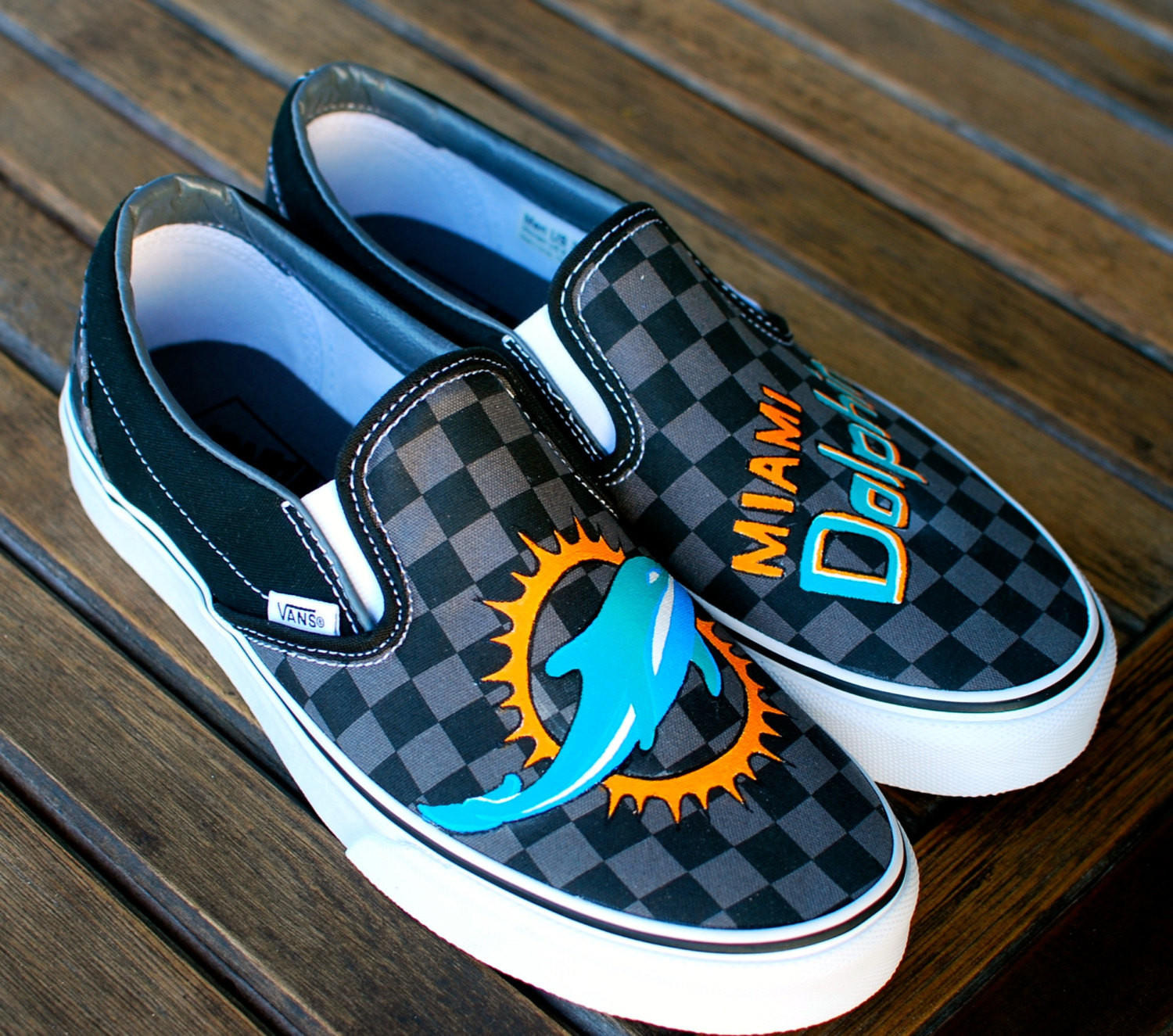 Hand Painted Miami Dolphins Black Pewter From Bstreetshoes Com