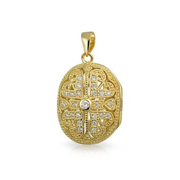 Oval Heart Locket Pendant CZ Necklace 14K Gold Plated Sterling Silver