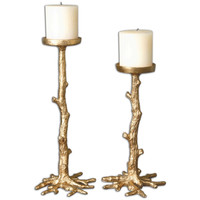 Maple Gold Candleholders, S/2