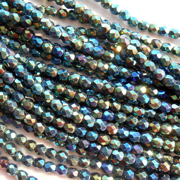 Reserved for S. Davis 300 4mm and 150 6mm Iris Green Czech glass beads, firepolished, faceted round beads, C5550