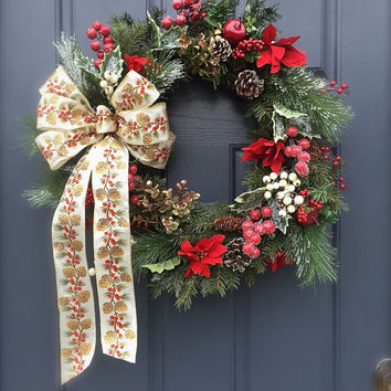 Classic Christmas Wreath Holiday Door Wreaths Pinecones Red Poinsettias Wreath