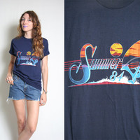 Summer of 84 Vintage T-Shirt - 1984 - 80s Tees - Navy Blue - Sunset Sailboat - 80s Vintage Clothing - 80s Shirt - Deadstock - 50/50