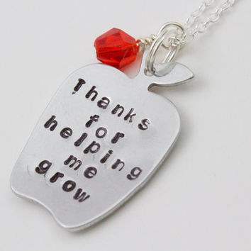 Thank You For Helping Me Grow - Silver Apple Necklace - Teacher Appreciation Necklace, Thank You Gift