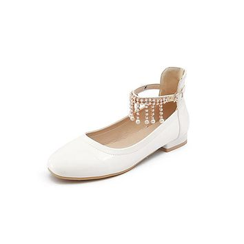 Ankle Strap Pearls Low Heel Pumps Shoes 1557