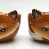 Fox Bowls Animal Kitchen Novelty Dessert Ramekin Dishes Set 2 Ceramic Mossy Oak