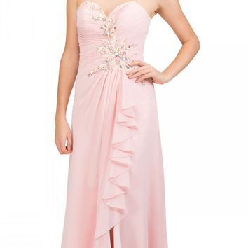 Prom Gown Chiffon Blush Front Slit Strapless Floor Length