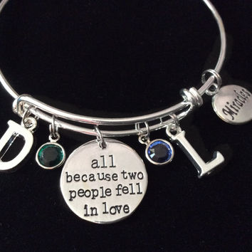 All Because Two People Fell In Love Miracles Silver Expandable Charm Bracelet Adjustable Bangle Baby Gift