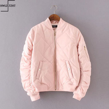 New Fashion 2016 Autumn Winter Bomber Jacket Women Padded Coat Female Casual Diamond Coat aqueta feminina Quilted Short Jacket