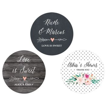 Personalized Floral Garden Round Labels (Set of 24)