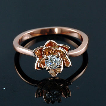 Rose Gold Engagement Ring, Flower Engagement Ring, Promise ring, Bridal Jewelry, Flower Band, Floral Ring, Art Deco Ring, 14k Ring