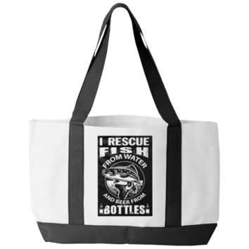 """I Rescue Fish From Water And Beer From Bottles"" Polyester Tote Bags With 2 Self-Fabric Handles And An Open Front Pocket"