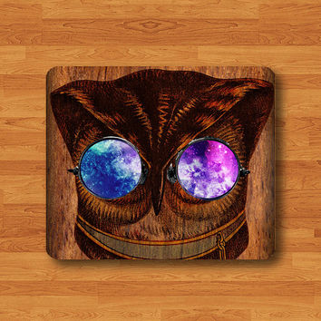 Owl Wear Galaxy Glasses Mouse Pad Wood Hipster Eyes MousePad Nebula Work Pad Mat Rectangle Personal Ecofriendly Sustainable Desk Cowork Gift