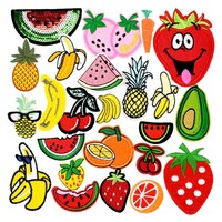Diy fruit patches for clothing iron embroidered patch applique iron on patches sewing accessories badge stickers for clothes bag