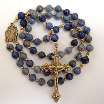 Catholic Rosary, Blue Aventurine Beads, Sacred Heart of Jesus, Antique Gold Crucifix, Catholic Prayer Beads, Natural Stone Beads