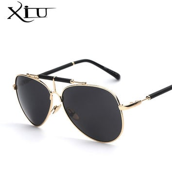 New Leather Men Sunglasses Metal Frame  Men's Glasses Fashion
