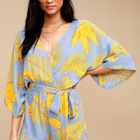 Fontana Light Blue and Yellow Leaf Print Romper