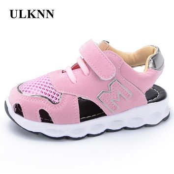 ULKNN Girls Sandals Children Shoes Kids Footwear Beach Shoes Soft Leather Pink Cut-outs Sandals 2017 Infant Sport Shoes