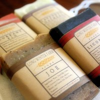 Four Trial or Travel Sized Quarter Soaps by longwinterfarm on Etsy