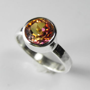 Mystic Topaz Ring - Big Gemstone Solitaire Ring - Silver Stack Ring - Twilight Mystic Topaz - Pink Coral Fire Orange Lavender Sunset Jewelry