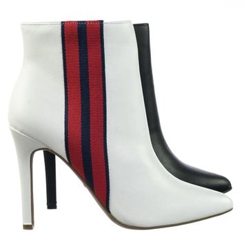 Pledge47 Pointy Toe Ankle Bootie w Vertical Racing Stripes & High Heel