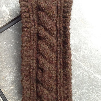 Chunky Cable Knit Acrylic and Wool Headband, Walnut Brown, soft, thick and warm head wrap, fleece lined option